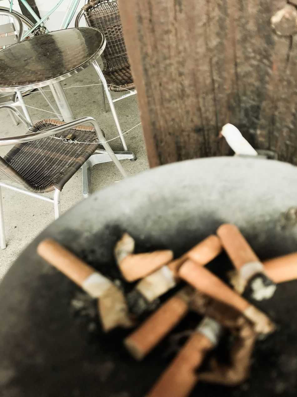 Ashtray  Barrel Close-up Day High Angle View Indoors  No People
