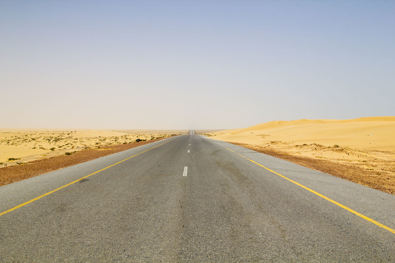 Offroad trip from Muscat to Salalah: On the road to Al Duqm 4x4 Adventure Arabic Arid Climate Clear Sky Driving Dry Landscape Nature No People Offroad Oman Oman_photography Outdoors Road Rock Sand Sand Dune Scenics Sky Spectacular Straight Transportation Trip Wide