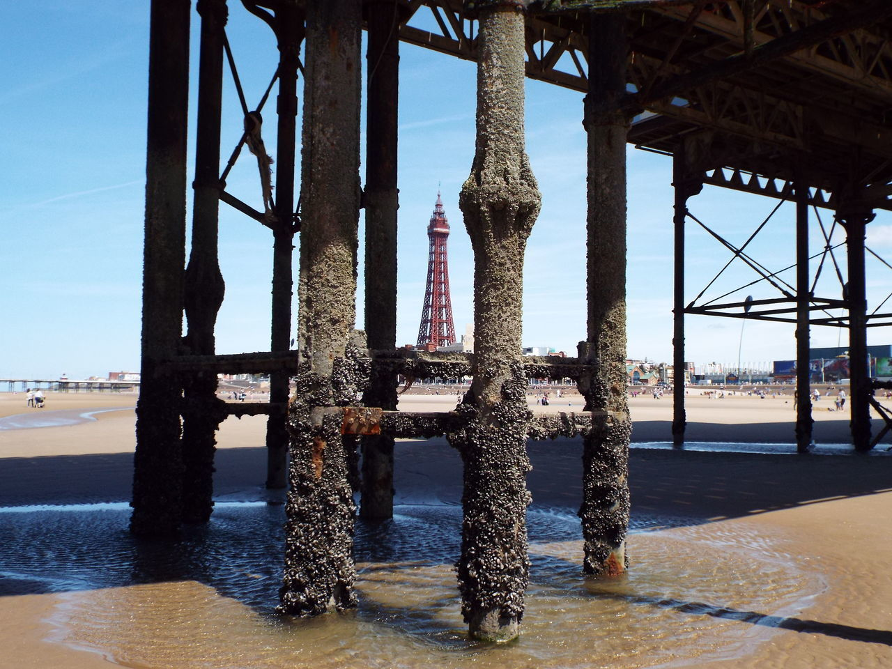 Blackpool Central Pier Central Pier Sea Blackpool Tower Blue Sky Sand Tourism Tourist Attraction  Summer 2016 Summertime The Essence Of Summer Metal Structure
