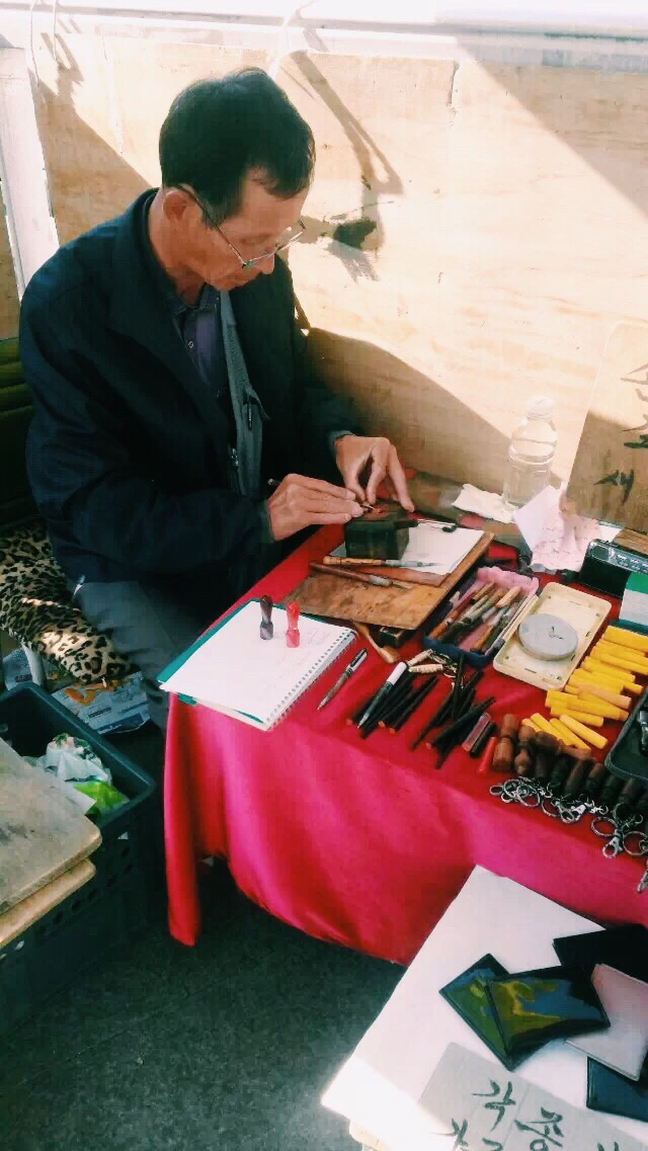 Person Sitting Handcraft Handmade Stamp Maker Making Stamps Elderly Traditional Culture Technician Worker Daily Life Artist