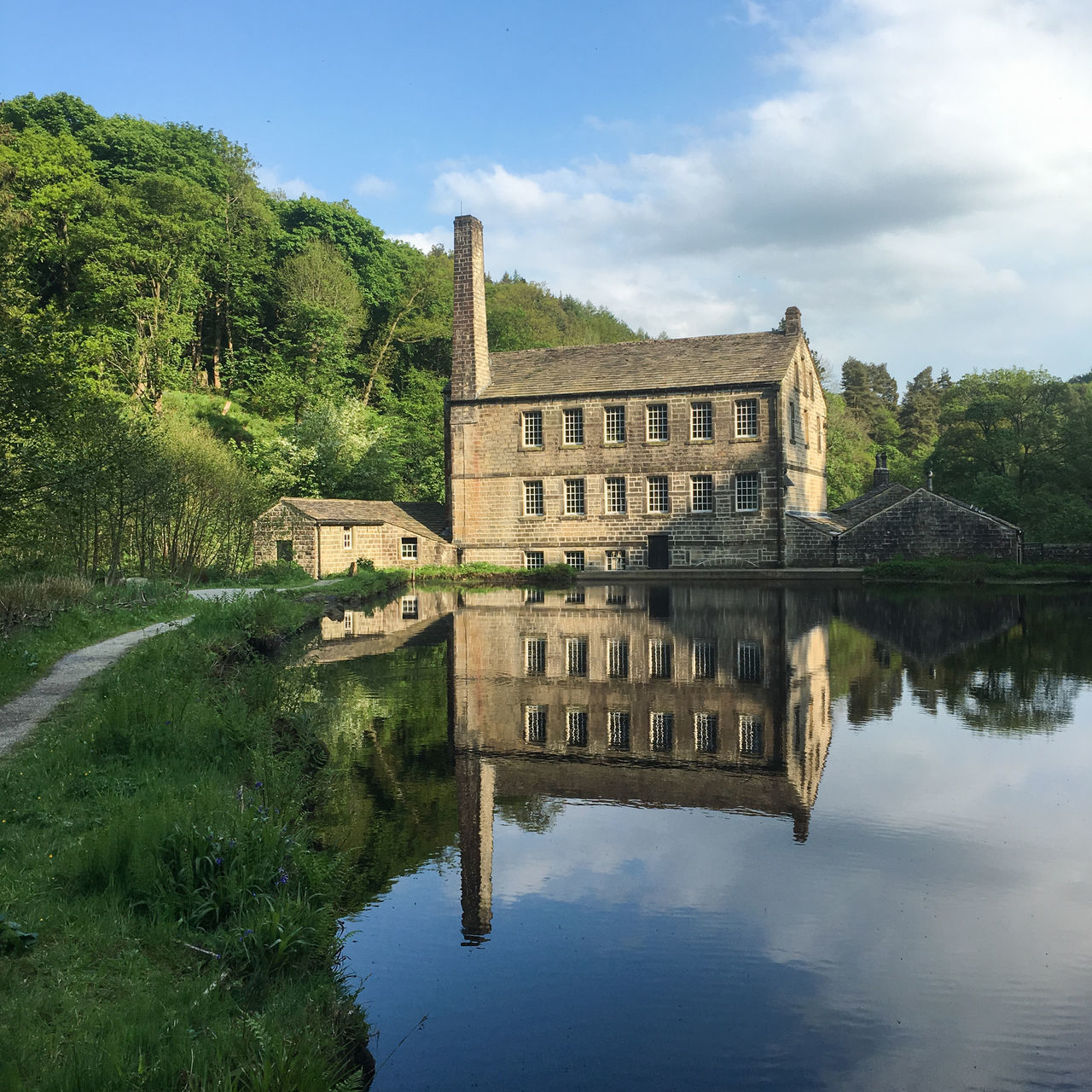 Reflection of Gibson Mill at Hardcastle Crags, West Yorkshire Architecture Building Exterior Building Reflections Built Structure Day History Mill Nature No People Outdoors Reflection Sky Travel Destinations Tree Water Industry Industrial Landscapes Industrial