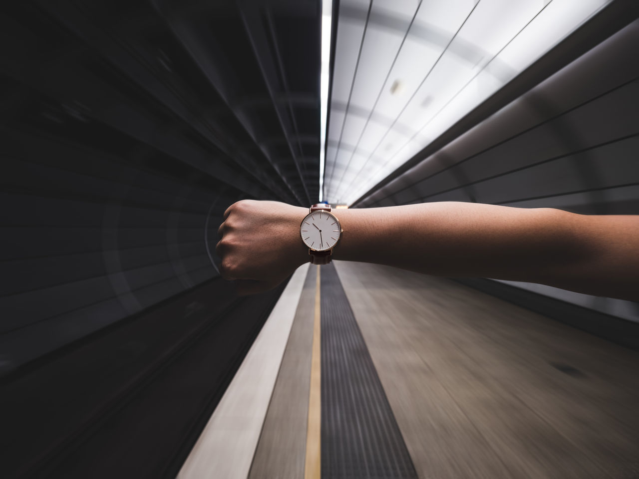 Architectural Feature Architecture Blur Business Circle First Eyeem Photo Geometric Shape Hand Indoors  Modern Motion Blur Pattern Rush Shape Subway Subway Station Time Underground Vanishing Point Waiting Watch Photography In Motion
