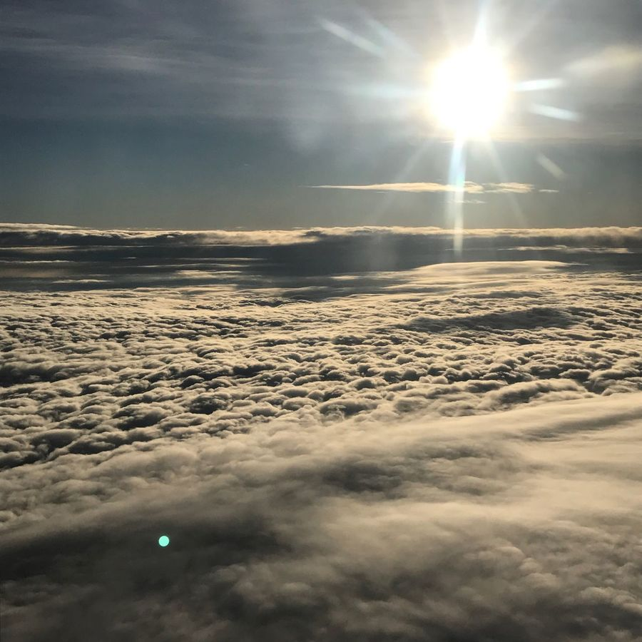 Flying up high - OverTheClouds Airplane Sunshine Beautiful Day Sun Beauty In Nature Nature Sunlight Lens Flare Sunbeam Sky Tranquility Scenics Sunset Tranquil Scene Outdoors No People Cloud - Sky Shiny Day Power Lookingoutside Nofilter
