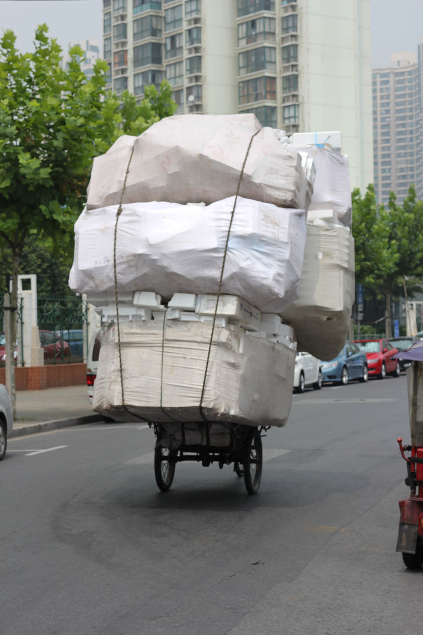 Stack Of Polystyrene Stacks Loaded On Rickshaw