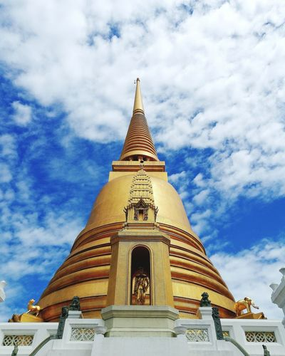Temple Religion Pagoda Architecture Spirituality Travel Destinations Sky Gold Colored Gold Cloud - Sky Place Of Worship Day Statue Outdoors Arrival No People Building Exterior Nature Temple Thailand Temple In Thailand Architecture Bangkok