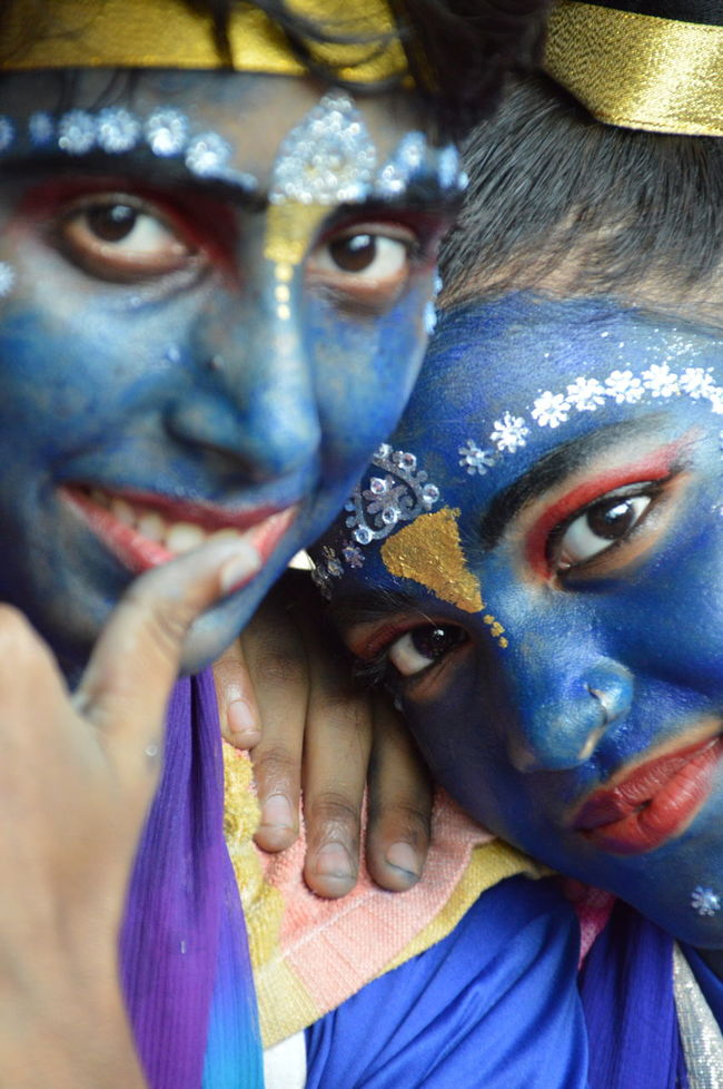 Art And Craft Celebration College Life Creativity Culture Dahi Handi Event Face Painted Woman Front View Headshot Human Face Indoors  Janmashtami Looking At Camera Maharashtra Portrait Stage Costume Togetherness Tradition