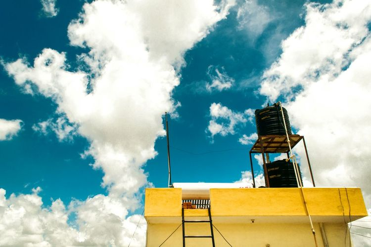 Sunny Day Daylight Clouds And Sky Clouds Sky Blue Sky Architecture Yellow Wall Vivid Open Edit Landscape Urban Landscape Home Is Where The Art Is Stairs On The Roof Rooftop Pivotal Ideas Colour Of Life