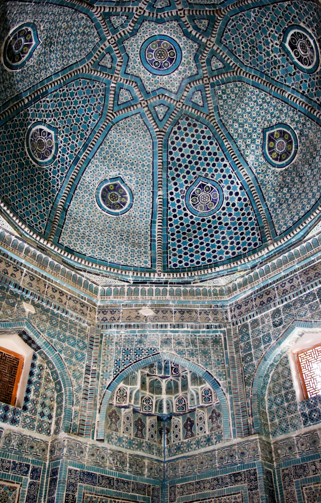 Architecture Backgrounds Built Structure Ceiling Cupola Day Dome Full Frame History Indoors  Low Angle View Mausoleum Mosaic No People Pattern Place Of Worship Religion Samarkand Samarqand Silk Road Spirituality Tile Travel Destinations Uzbekistan