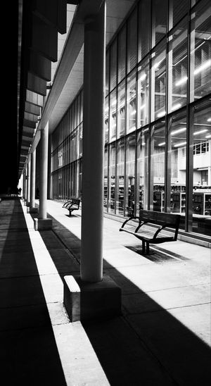 empty walkway Blackandwhite Monochrome Close Up Outdoors Contrast Building Built Structure Architecture Indoors  Sunlight Day Transportation Shadow Architectural Column No People
