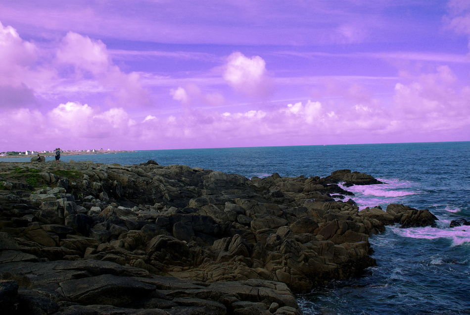 Surreal world Beach Beauty In Nature Bretagne Bretagnetourisme Finding New Frontiers Once In A Lifetime Horizon Over Water Nature Nordic Outdoors People On Rock Purple Sky Rock And Sea Rock Formation Scenics Sea Sea Life Sea Side Seascape Sky Surreal Surrealism Water Waves And Rocks Waves Crashing