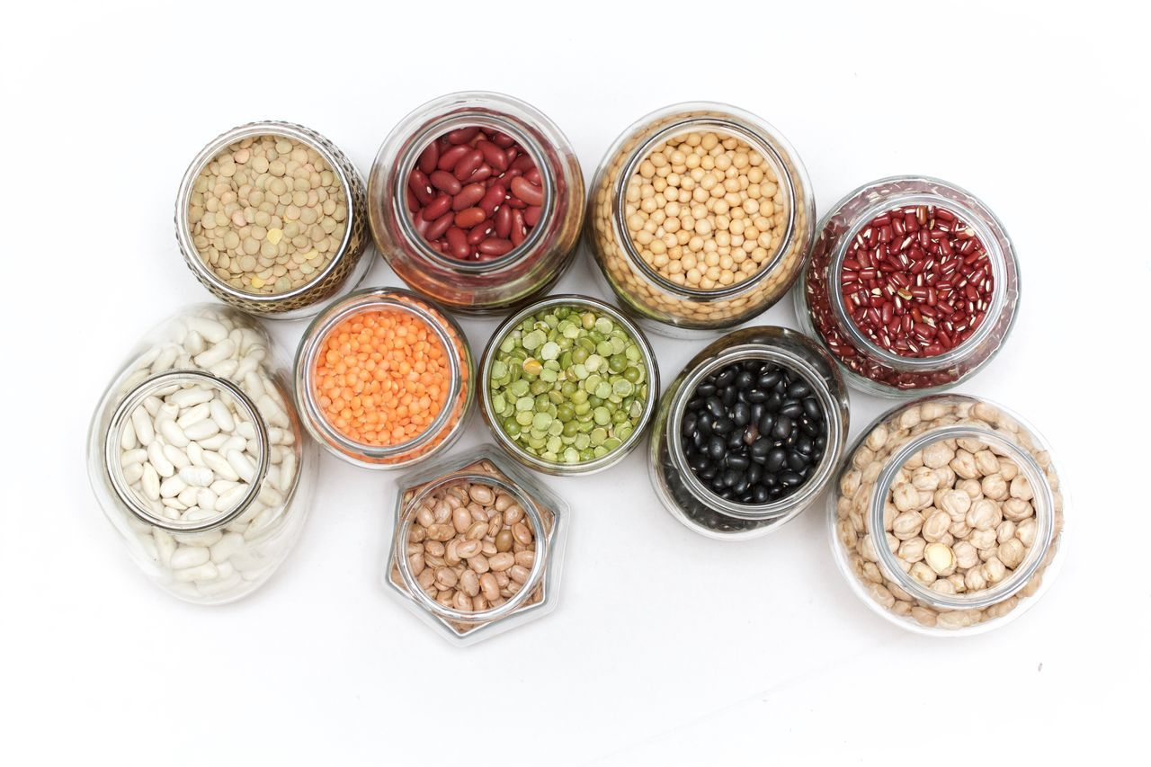 beans, peas and lentils in a jar on white background Beans Healthy Eating Jars  Lentils Peas Studio Shot Variation White Background