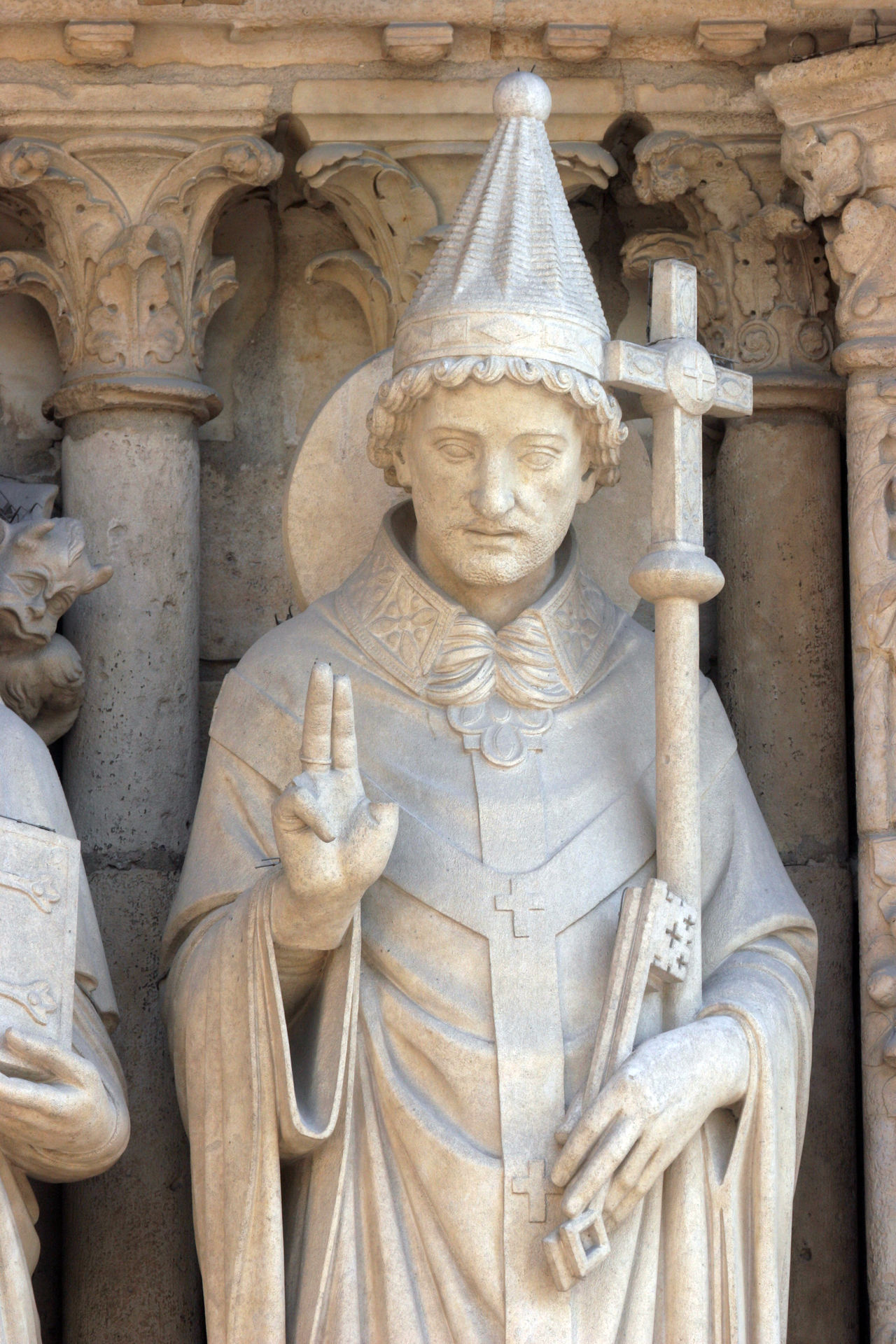 Pope Saint Sylvester, Notre Dame Cathedral, Paris, Portal of the Virgin Architecture Art Carved Cathedral Culture Façade Faith Figure France Landmark Medieval Monument Notre Dame De Paris Paris Pope Portal Religion Religious  Saint Sculpture Spirituality Statue Stone Sylvester Worship