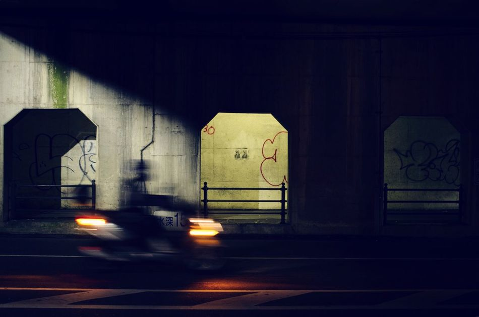 The City Light Nightphotography Bike Streetphotography Light And Shadow Road Blurred Motion Blur Graffiti