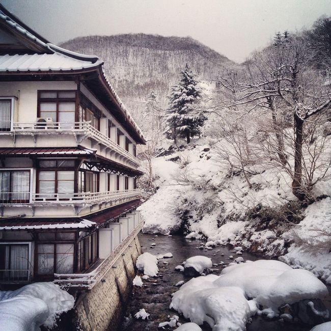 Onsen ryokan in winter Gunma, Japan Snow Winter Season  Weather Frozen Tranquility Outdoors Non-urban Scene Nature Japan Onsen Ryokan