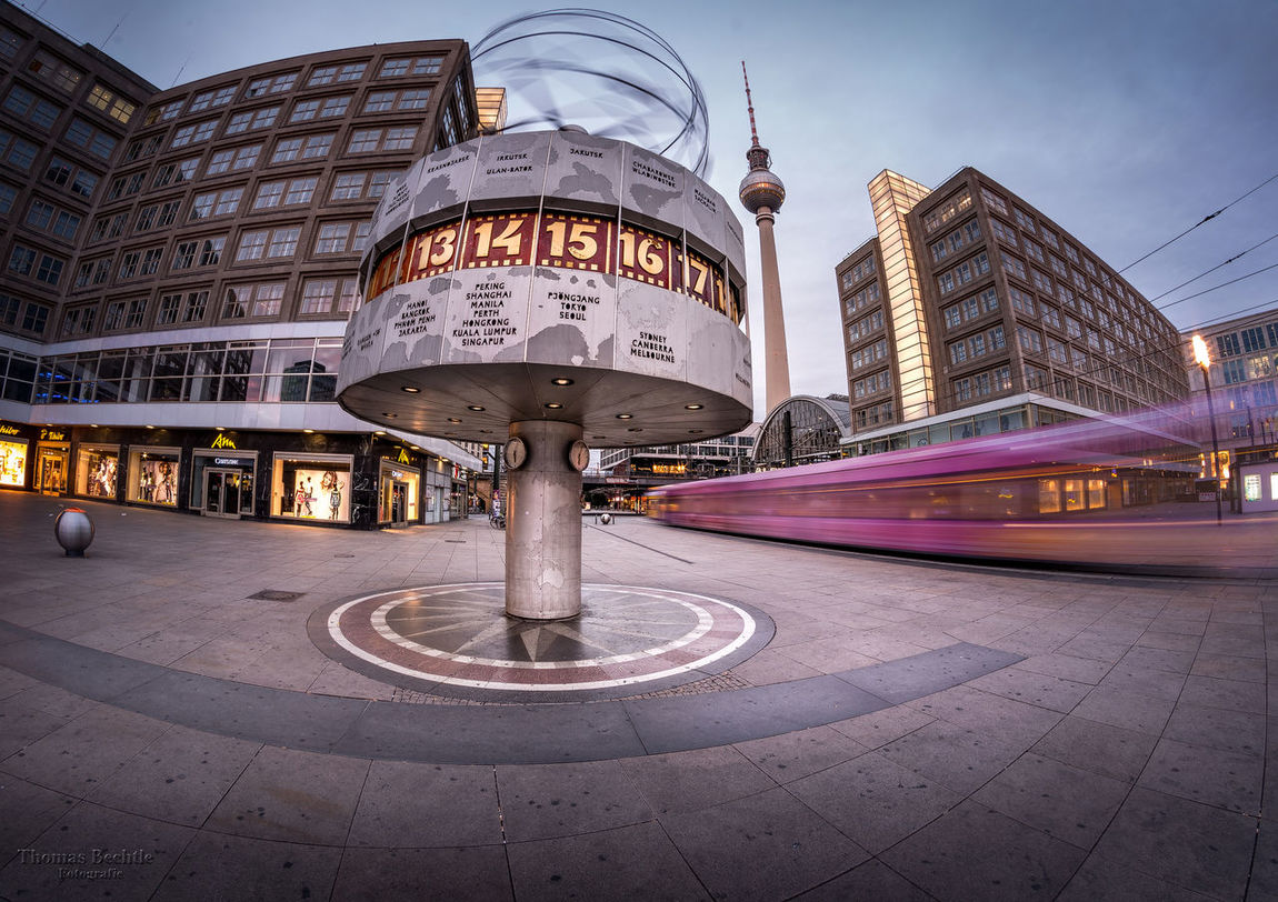 Berlin - Alexanderplatz Alexanderplatz Bekannte Plä Bekannte Plätze Berlin City EyeEm Best Shots - Long Exposure Fisheye Long Exposure Mitte Motion Blur Popular Places Urban Weltzeituhr World Time Clock