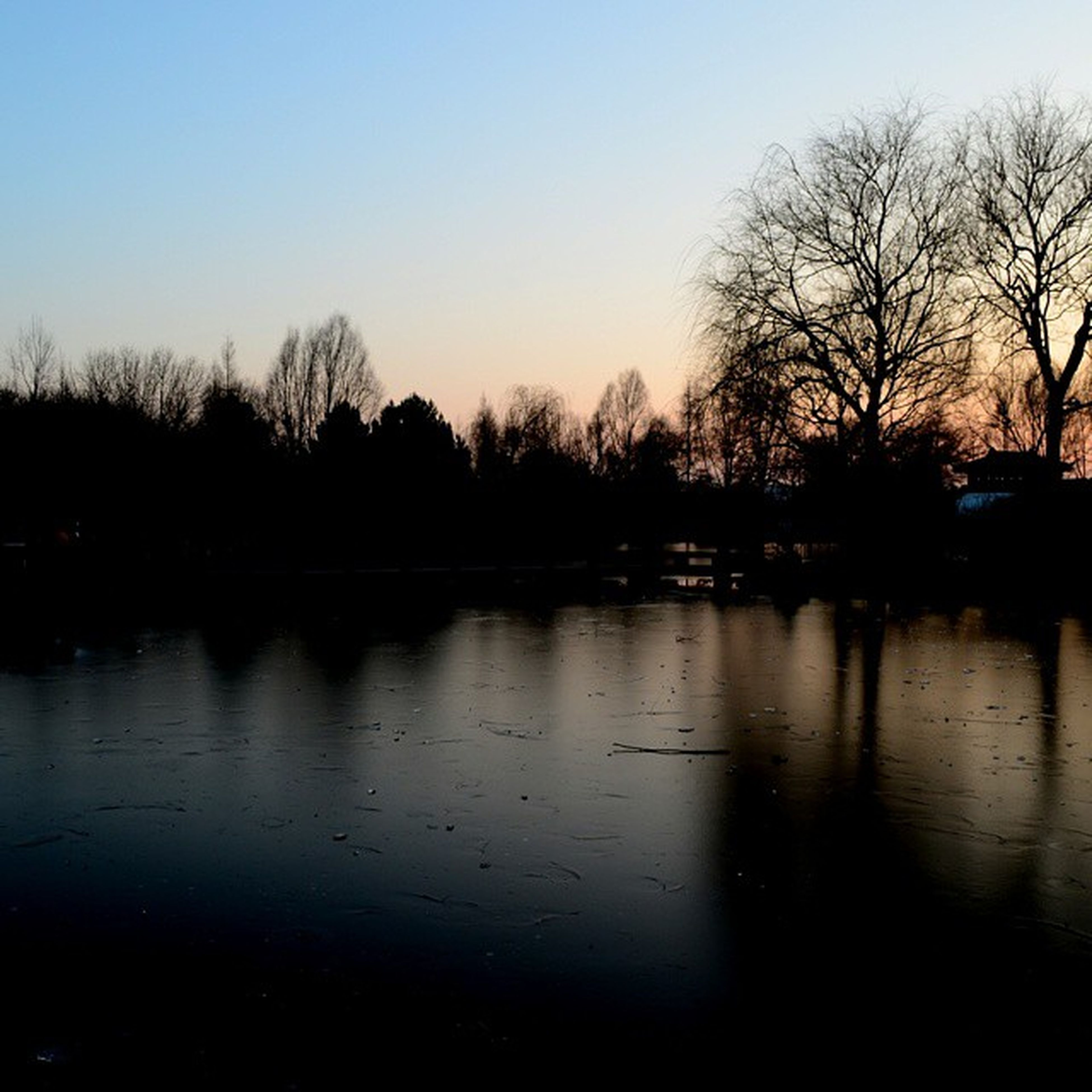 silhouette, water, reflection, tree, clear sky, sunset, lake, bare tree, tranquility, tranquil scene, scenics, dusk, beauty in nature, nature, sky, copy space, waterfront, river, idyllic, outdoors