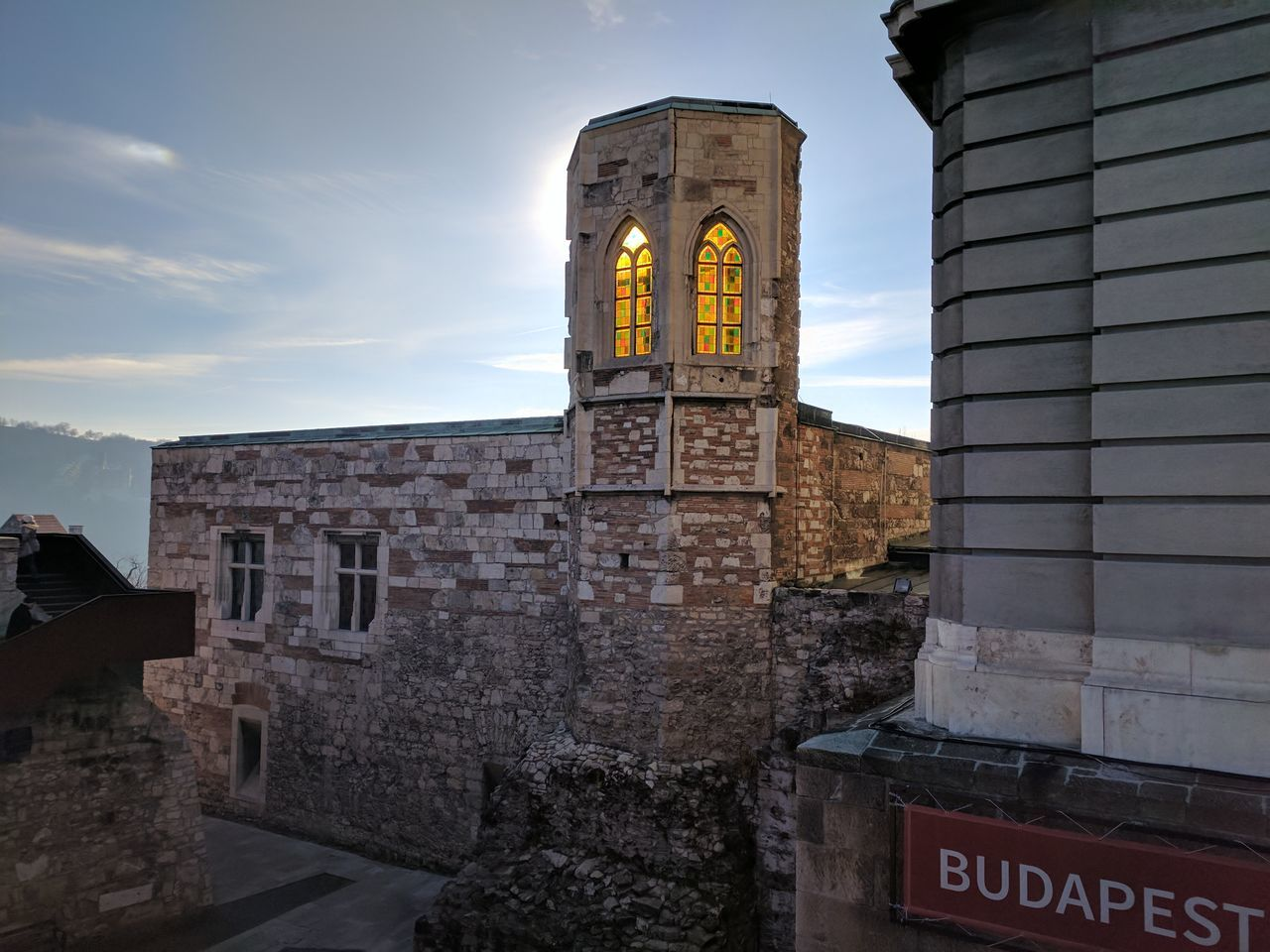 Architecture Travel Destinations Stained Glass Stained Glass Window History Sky Outdoor Buda Castle Ancient Ancient Civilization Built Structure Light Light Through The Window Outdoors Castle Contrasting Colors Blue Sky Beams Of Light