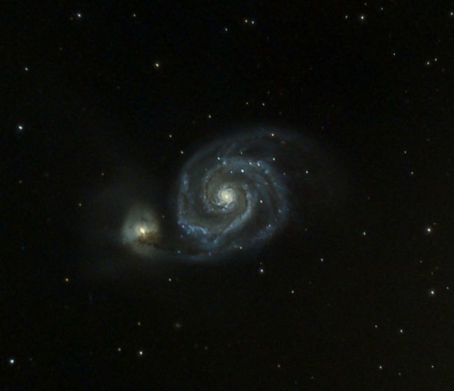 M51 The Whirlpool galaxy This is just over an hours worth of data. Telescope - skywatcher Quattro s 8 f/4 Mount - NEQ6 Camera - Canon 60da Exp - various exposures adding up to 1 hr ISO - 1600 Astro Astronomy Astronomynerd AstronomyNOW Astrophotography Astrophotography Astronomy Galaxy M51 Whirlpool Galaxy Showcase June