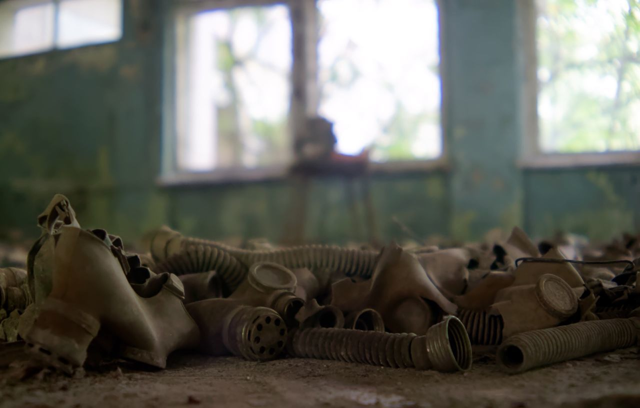 Childrens gas masks.... Chernobyl Exclusion Zone Chernobyl Pripryat Gasmasks Indoors  No People Close-up Focus On Foreground School Gas Masks Indoors  Abandoned Post Apocalyptic