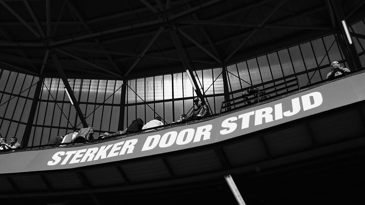 Sterker Door Strijd Feyenoord Rotterdam Slogan Stronger Through Fighting Feyenoord Stadium De Kuip Soccer Fans Waiting For the Match Of The Day against Ajax of Amsterdam Built Structure Low Angle View Architecture Outdoors City Day Audience Horizontal (c) 2016 Shangita Bose All Rights Reserved From My Point Of View