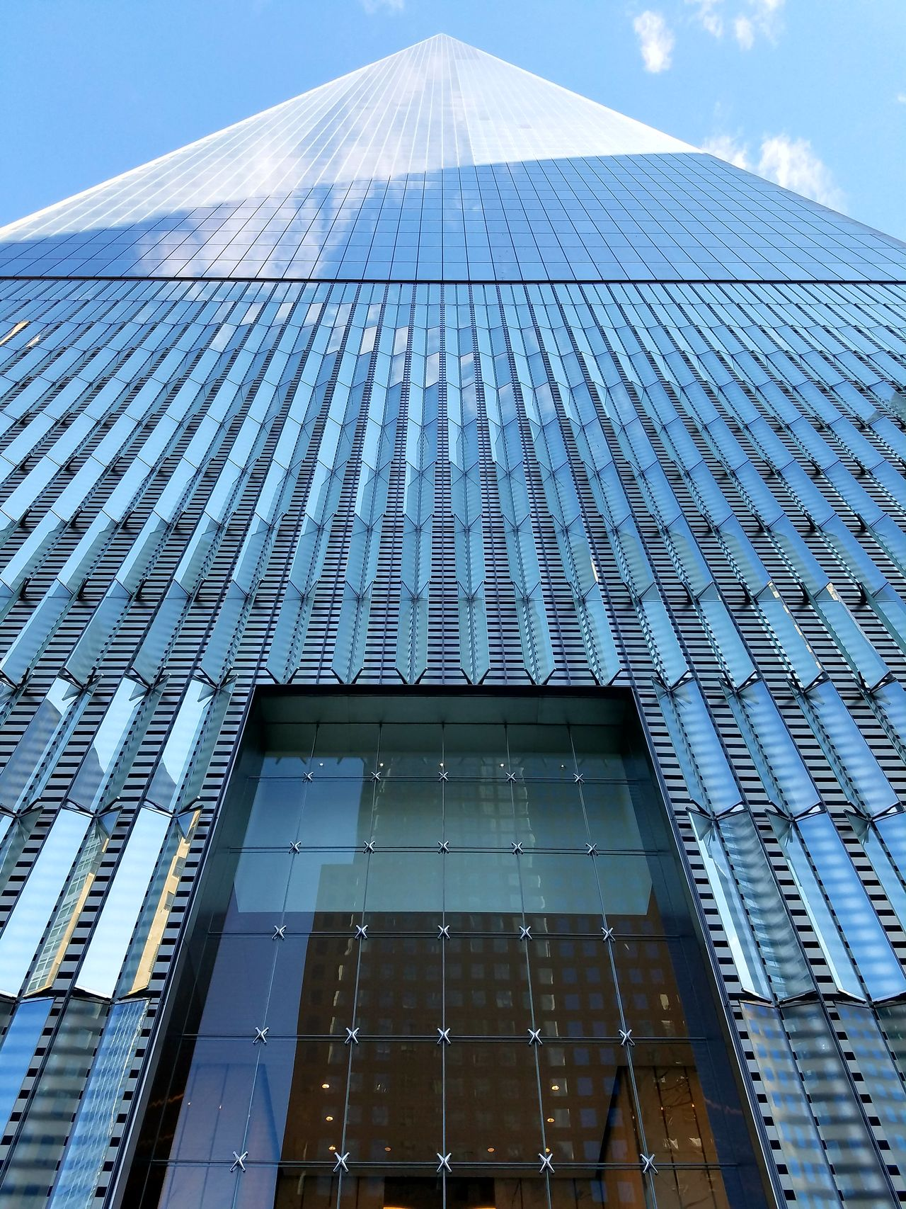 Low Angle View Architecture Built Structure Building Exterior Skyscraper Modern Tall Blue Sky Geometric Shape Manhattan New York City Travel Destinations One World Trade