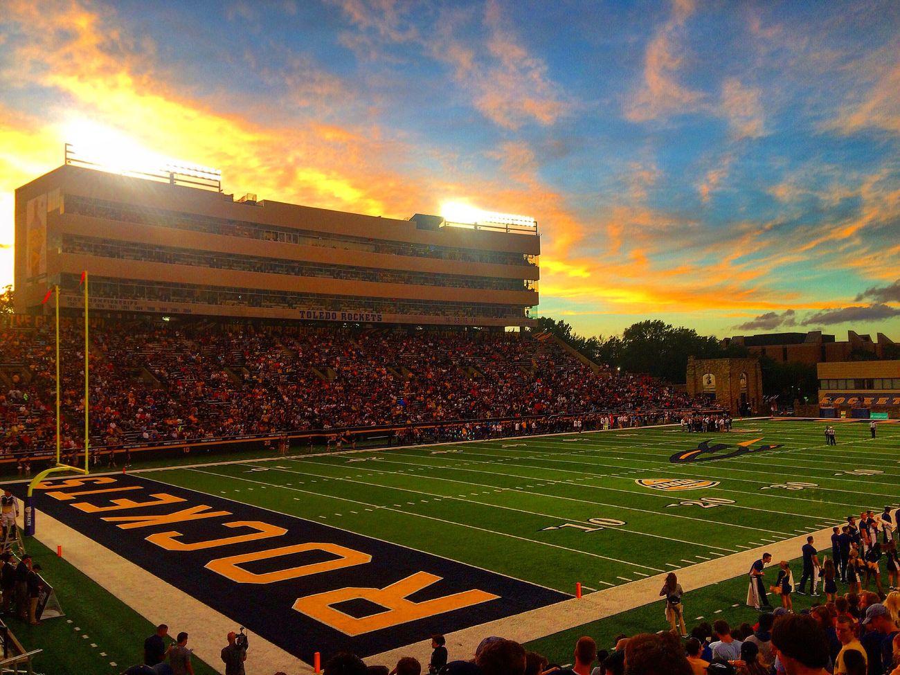 Fridaynightlights Collegefootball Toledo Football Sports Sunset Stadium