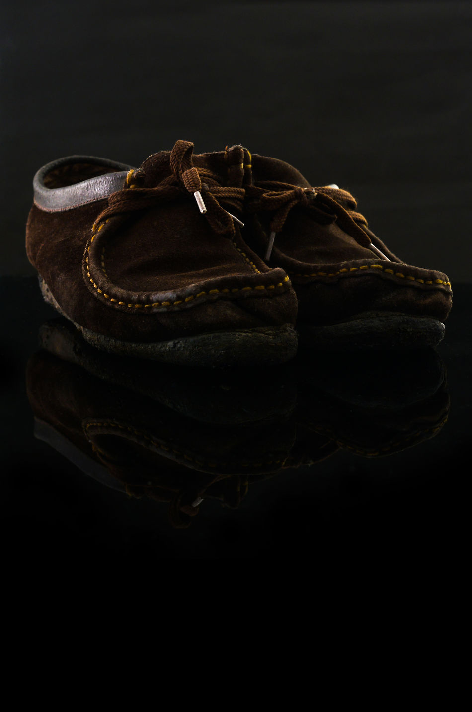 Black Background Brown Leather Shoes Shoes Still Life