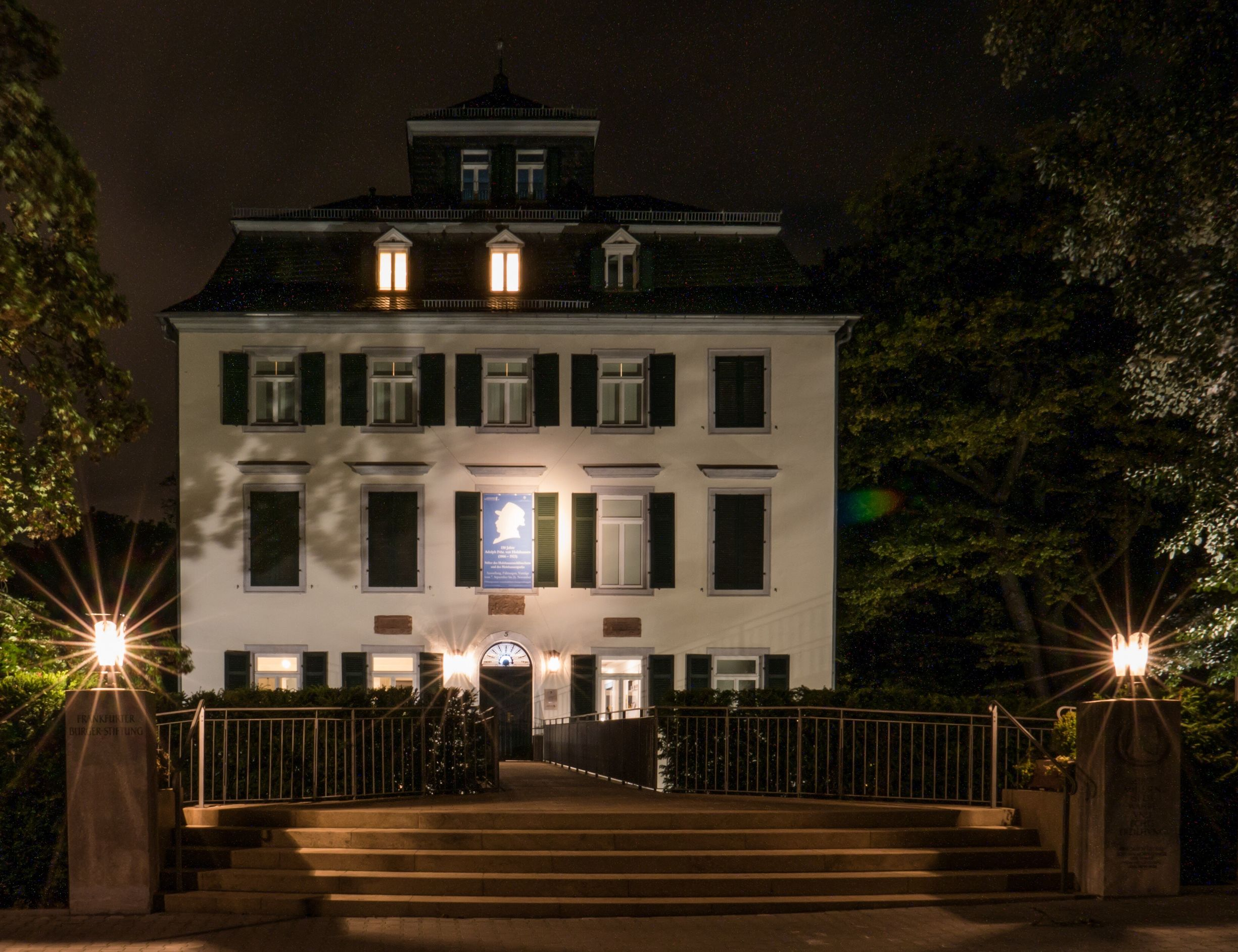 The mansion at night. Illuminated Architecture Building Exterior Built Structure Night Lighting Equipment Street Light City Steps Façade Architectural Column Column Lens Flare Electric Light Sky The Way Forward Outdoors In A Row City Life Modern Frankfurt Frankfurt Am Main Holzhausenschlösschen