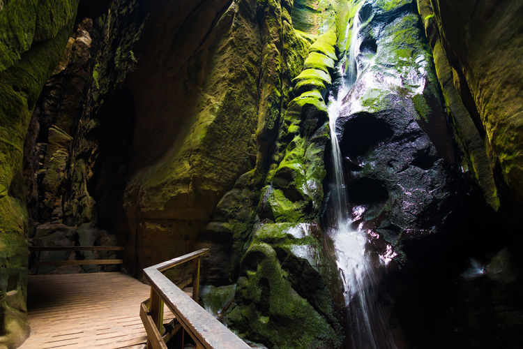 Adršpach Adršpachské Skály Beauty In Nature Cave Day Mountain Nature No People Outdoors Rock - Object Rock Formation Scenics Tranquil Scene Tranquility Water Waterfall