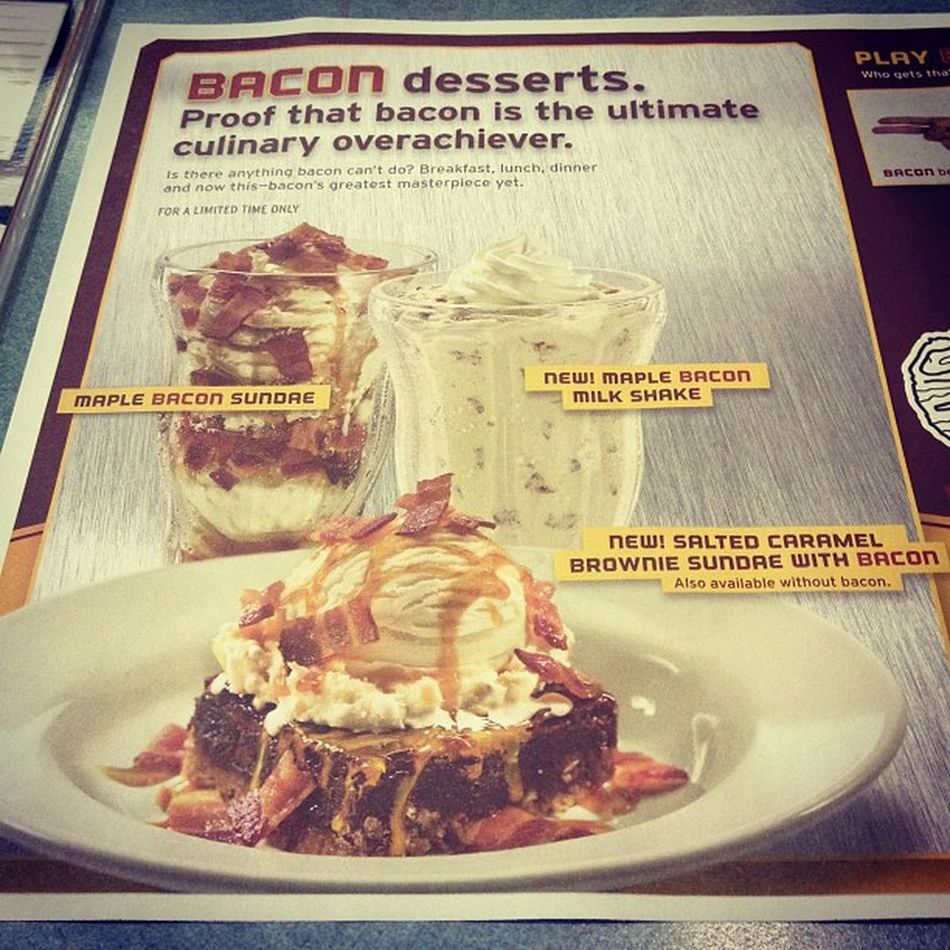 I looooove bacon.. But damn! Maplebaconsundae Maplebaconmilkshake Saltedcaramel Browinesundae withbacon