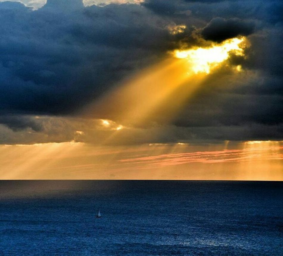 Mediterranean  Mediterranean Sea Cloud - Sky Sunset Scenics Dramatic Sky Horizon Over Water Beauty In Nature Sunbeam Cloud - Sky Outdoors Sea Ethereal Atmospheric Mood Nature No People Sky Storm Cloud Water Thunderstorm Astronomy Day First Eyeem Photo Nature Autumn