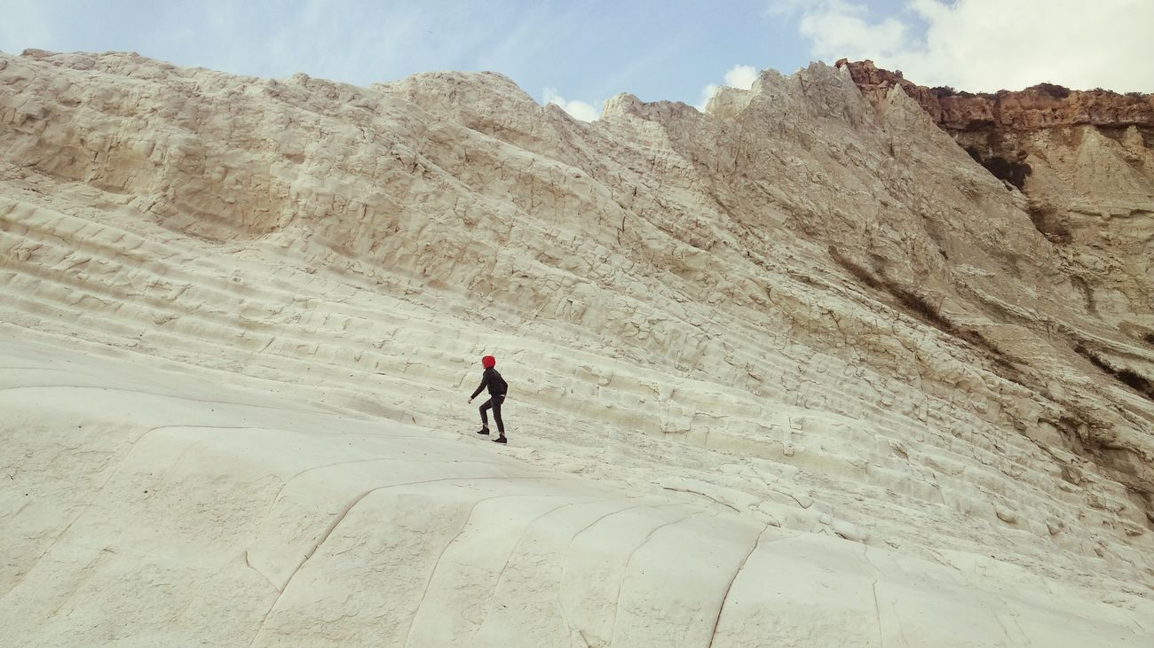 Outdoors One Person Adventure Beauty In Nature Holiday Trip February 2017 A Place You Must Visit Travel Destinations I Love Sicilia Sicilianjourney Scala Dei Turchi Springtime