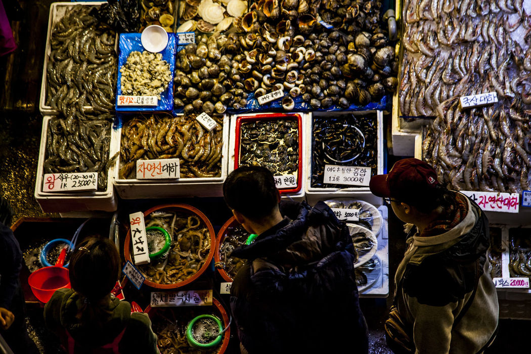 Abundance Arrangement Choice Collection Culture Cultures Display Fishery Market Food And Drink For Sale Indoors  Large Group Of Objects Market Market Stall Multi Colored Perspective Retail  Sea Cucumber Sea Squirt Seafood Market Shell Shirimp Variation Showcase: November
