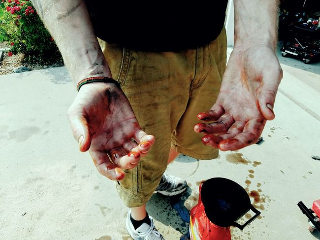 Ry's hands after changing the oil in his pickup truck. Person Outdoors Men Dirty Hands Hands Working Hands Man Oil Automobile Mechanic DIY People Dirty Recycle Recycling Android America Personal Perspective Human Finger