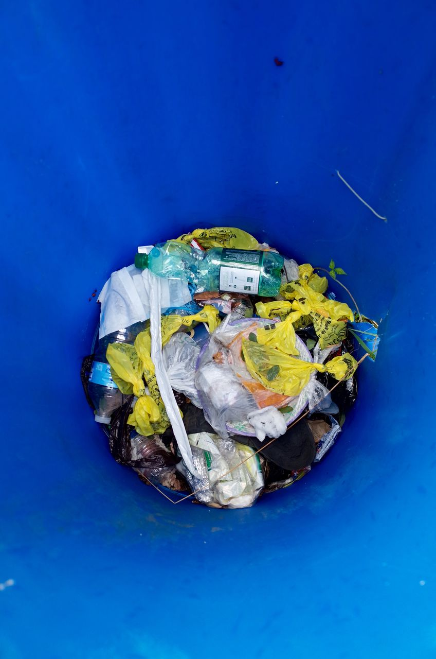 High Angle View Of Garbage In Bin