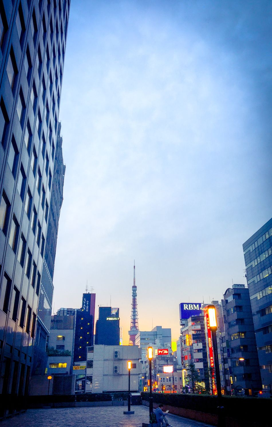 Sunset Sunset_collection Sunset Silhouettes Tokyo Tower Architecture Building Exterior Built Structure Skyscraper City Modern Tower Sky Tall Outdoors Low Angle View Cityscape No People Day Office Park Art Is Everywhere The Secret Spaces EyeEmNewHere