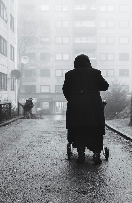 Adapted To The City Hammarkullen Gothenburg Real People Streetphotography Bnw Blackandwhite Blackandwhite Photography Urban Landscape Urbanphotography Outdoors Documentary Photography Architecture Foggy Morning Misty Morning Perspective Composition EyeEm Best Shots EyeEm Gallery