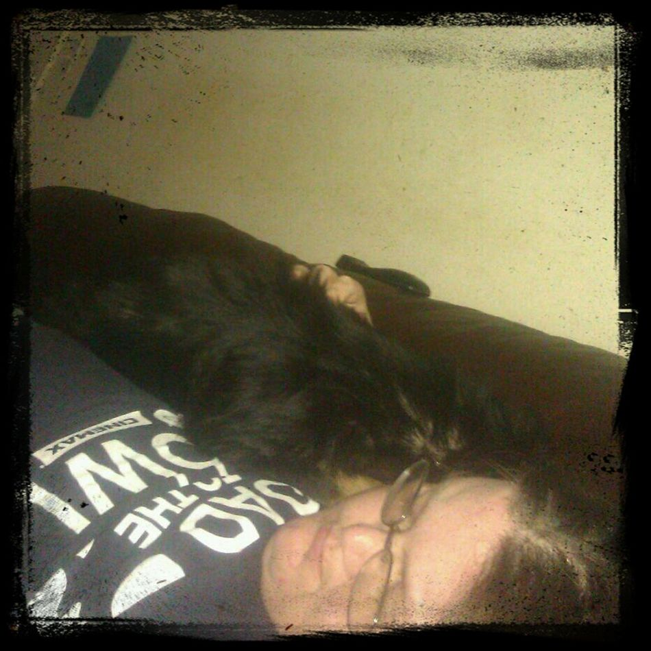 Daisy and I relaxing on the couch