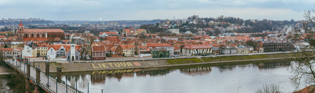 Kaunas Panorama Architecture Building Exterior Built Structure City City Cityscape Day Europe History House Lietuva Nature No People Old Town Outdoors Panoramic Residential Building River Roof Sky Travel Destination Travel Destinations Urban Skyline Water