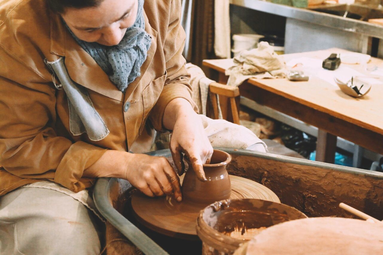 The art of the potter, it takes time and patience. A joy to watch Potter Pottery Spinning Around Potter Wheel Clay Clay Work Brown Craftsmanship  Crafting Making Crafts Craft