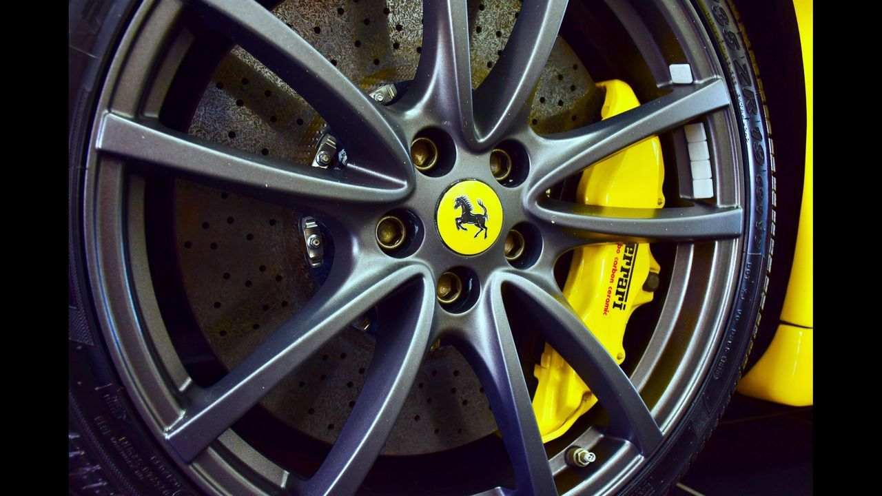 Transportation Wheel Machine Part Vehicle Part Industry Metal Close-up Gear Yellow Tire Car Ferris Wheel Ferrari World Ferrari Exotic Cars Supercar Supercars Alloy Wheels Black Blackandyellow Black And Yellow