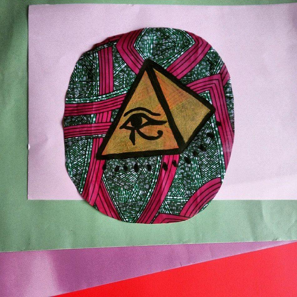 Vorrei vedere le piramidi di Cheope ma sono miope Cheope Pyramids Iside Horus illustration art hanpainted wax african textile