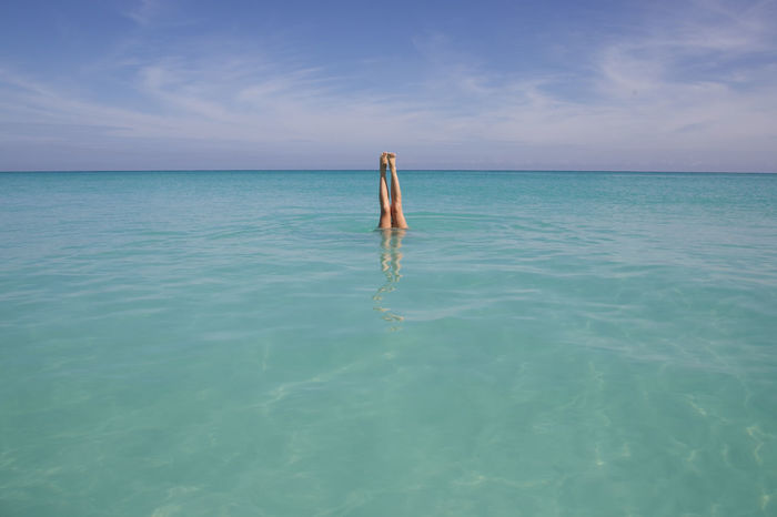 Beauty In Nature Bliss Blue Cloud Cloud - Sky Cuba Day Holiday Horizon Over Water Idyllic Legs Nature One Person Outdoors Reflection Rippled Scenics Sea Seascape Sky Tranquil Scene Tranquility Varadero Water Waterfront