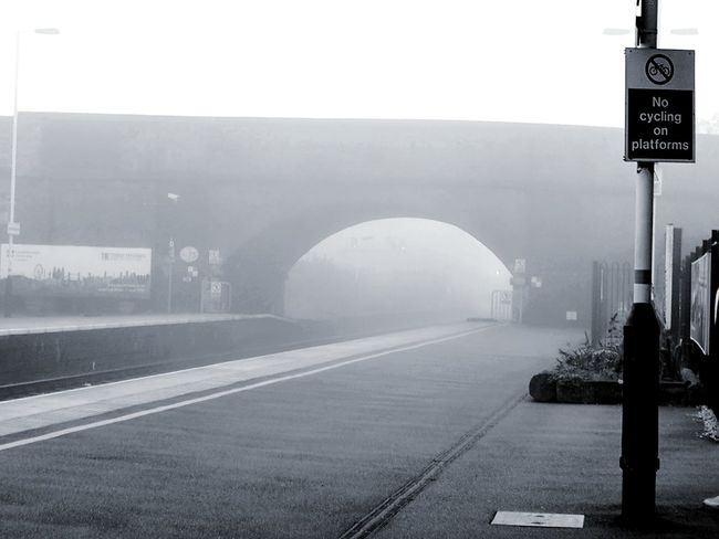 Loughborough station with fogOutdoors Day No People Exit Sign