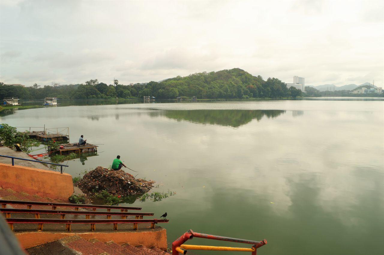 "beautiful lake which is known as ""an artificial lake"". Beautification Fishing Lake Morning Powai Lake Traveling"