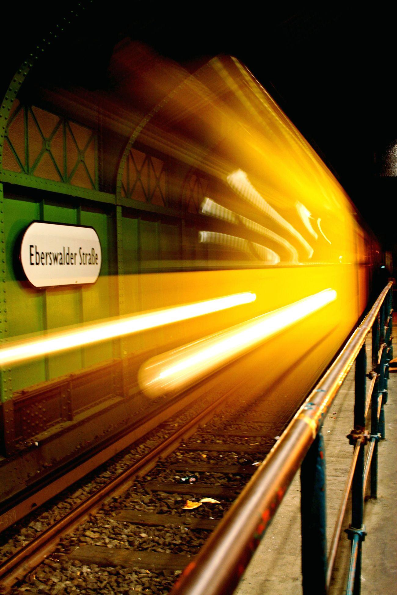 Train - Vehicle Subway Train Mode Of Transport Night Illuminated Outdoors Rail Transportation Underground Train Urban Ubahn U Eberswalder Underground City Subway Undergroundstation
