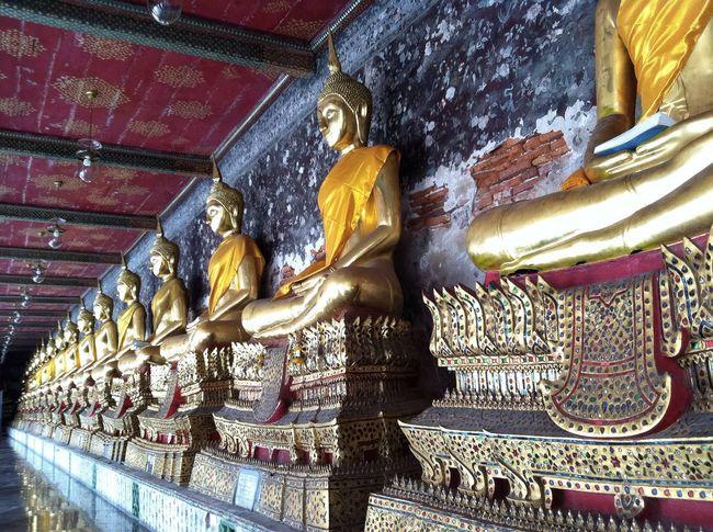 Perspective Photography Buddhist Temple Buddha Statue Floor Reflection Thai Art Buddhist Art Buddhist Monastery Cloister