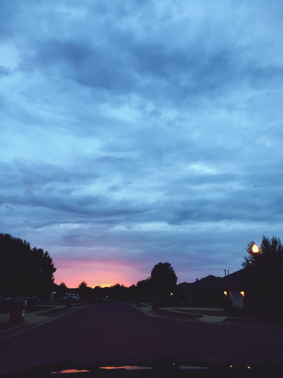 sky, cloud - sky, tree, scenics, sunset, silhouette, no people, car, nature, road, beauty in nature, tranquil scene, outdoors, day