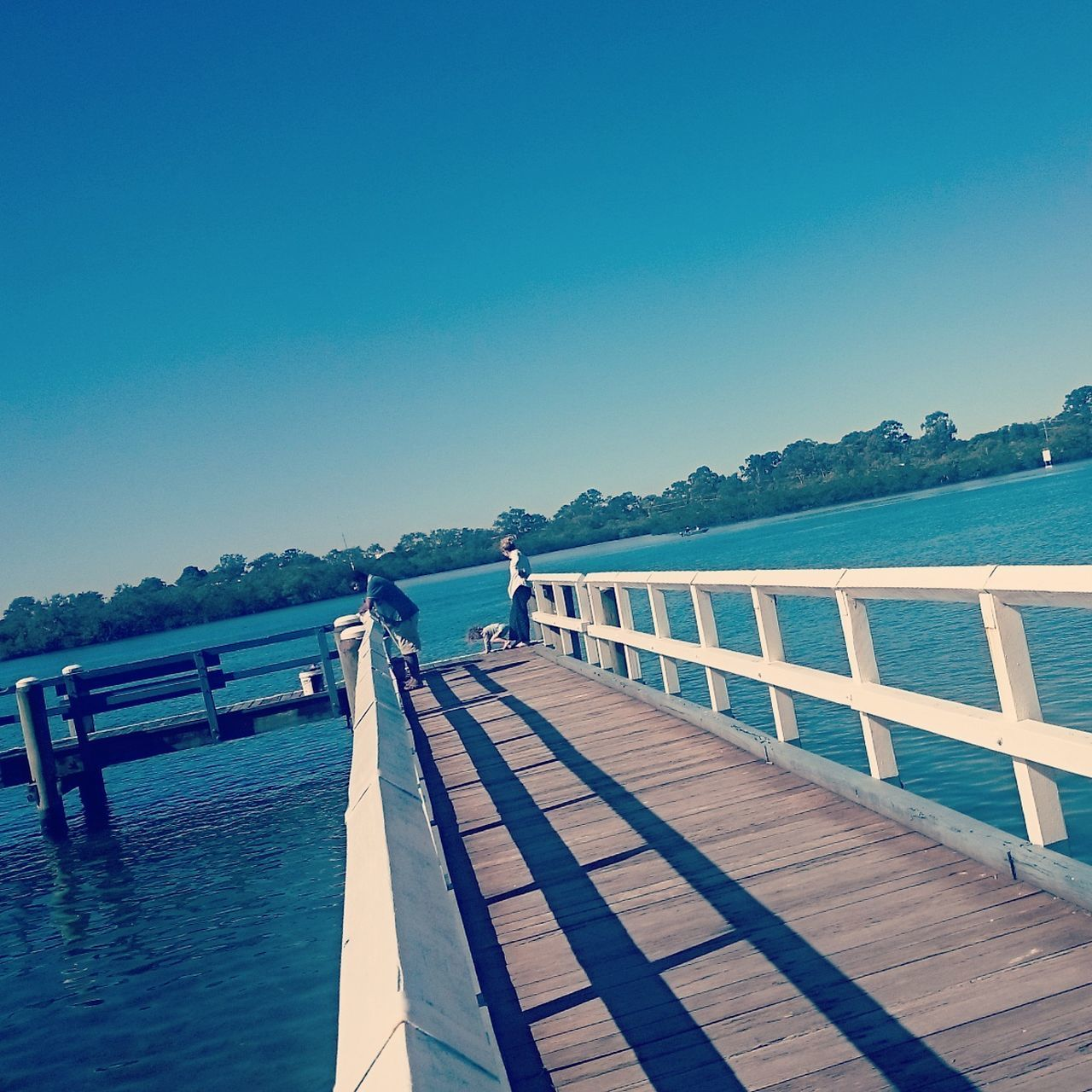 clear sky, copy space, water, sea, blue, nature, tranquil scene, sunlight, tranquility, day, scenics, outdoors, beauty in nature, mountain, wood - material, no people, sky