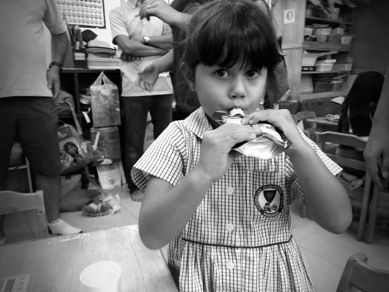 Little Girl Just A Moment When We Were Young School Day Looking At Camera Good Bye School Just Young  Black & White Black And White Photography Love ♥ Look At Me!